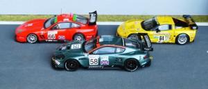 GT1-Fahrzeuge: Ferrari 550 Maranello (2004 - Modell: Red Line), Chevrolet Corvette C6R (2006 - Spark), Aston Martin DBR9 (2006 - IXO)