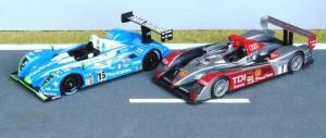 Le Mans 2007: Sieger Audi R10 TDI (IXO), 3. Platz: Pescarolo C60 (Spark)