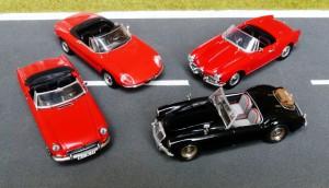 Goldene Zeiten: Alfa Giulietta Spider (Detail Cars), Alfa Duetto (Vitesse), MGA (Corgi), MGB (Minichamps)