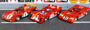 Ferrari 312 PB, von links: 1973 Nürburgring (Modell FDS), 1972 Daytona (Brumm), 1971 Brands Hatch (Solido)