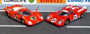links: Ferrari 512S Daytona 1970 (3. Platz, Modell: Solido), Ferrari 512M Zeltweg 1970 (Champion)