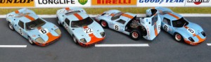 Viermal Ford GT40, von links: Le Mans 1969 (John Day), Sebring 1969 (Grand Prix Models), Le Mans 1969 (Jouef), Le Mans 1969 (IXO)