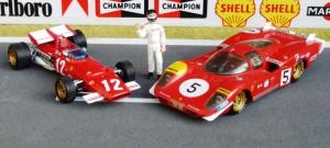 Rennsaison 1970: Formel 1 mit dem Ferrari 312 B (IXO), Sportwagen mit dem Ferrari 512 S (Hostaro)
