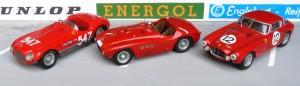 Ferrari - erster Sportwagen-Weltmeister 1953, von links: Ferari 340 MM, Sieger Mille Miglia (BBR), Ferrari 375 MM Sieger Nürburgring (John Day), Ferrari 340 MM Le Mans (Top Model Collection)