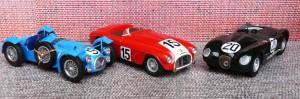 Favoriten für den Le Mans-Sieg 1951: Talbot-Lago T26 GS (Modell: Bizarre), Ferrari 340 America (Tron), Jaguar XK120C (Quartzo)