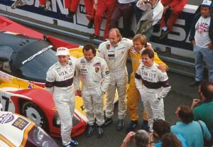 Le Mans 1988, vor dem Start (John Nielsen, Klaus Ludwig, Hans Stuck, Derek Bell, Martin Brundle), Foto des Herausgebers