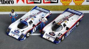 Le Mans-Siege 1986 und 1987 mit dem Porsche 962C, Copiloten Stuck und Holbert.