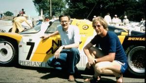 HP und HH, Gründungsmitglieder von Minerva Racing, im Parc Ferme mit dem Siegerwagen von Le Mans 1984