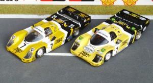 Porsche 956-117: Zwei Le Mans-Siege für das Joest Team, 1984 (rechts: Spark) und 1985 (links, Minichamps)