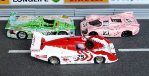 "March 83G Red Lobster (Spark), Audi R8 ""Krokodil"" (Minichamps), Porsche 917-20 ""Trüffeljäger"" (Minichamps)"