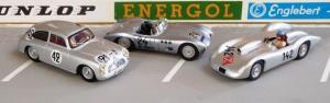 Borgward RS: links Le Mans Coupé (Swiss Mini), Mitte Nürburgring 1958 (Premium Classics), rechts RS von 1952 (Kaiser Models)
